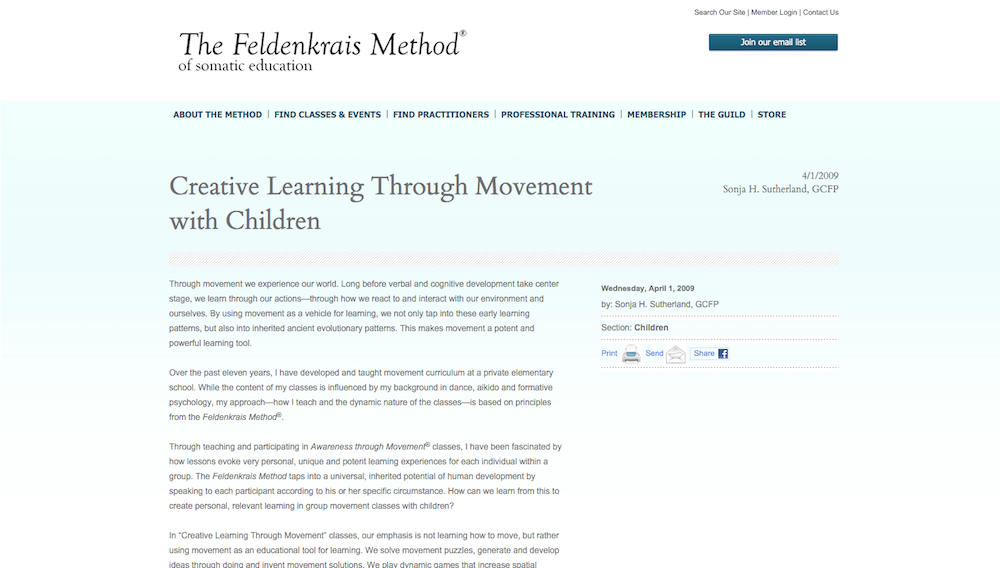 """Creative Learning Through Movement with Children"" published by Feldenkrais Guild"