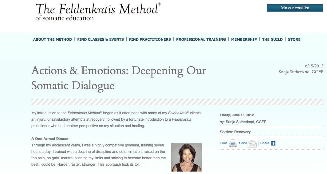 """""""Actions & Emotions"""" Article Published by Feldenkrais Newsletter"""